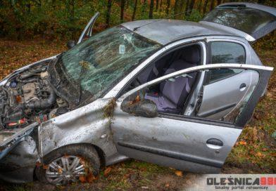 Peugeot dachował na DK25