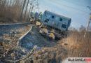 Pociąg towarowy wykoleił się na Łukanowie. Szyny … pękły od mrozu
