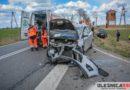 Zderzenie dwóch samochodów osobowych na skrzyżowaniu w Jenkowicach