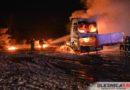 Pożar ciągnika siodłowego na naczepie