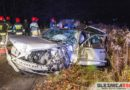 Czołowe zderzenie dwóch Mercedesów. Trzy osoby ranne