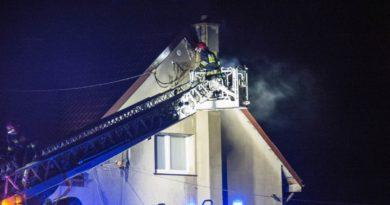 Pożar poddasza budynku mieszkalnego w Brzezince