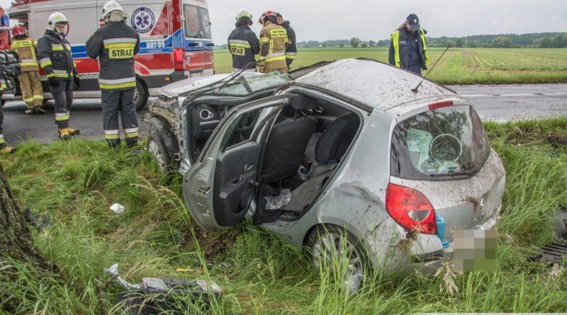 Renault dachowało w przydrożnym rowie