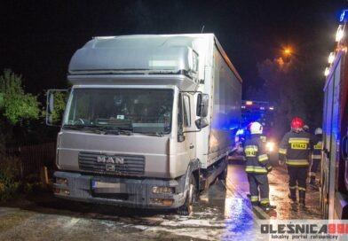 Pożar ciężarówki na DW 340 w Strzelcach