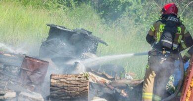Płonące odpady przemysłowe zagrażały pobliskim zabudowaniom warsztatu